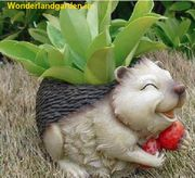 Laughing hedgehog flowerpot (Garden planters,  Home Decor and Decor)