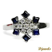 Djewels - Diamond Rings in Round Shape with Natural Blue Sapphire