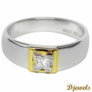 Unisex Solitaire Engagement Ring with white gold