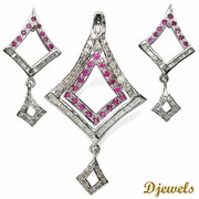 Exclusive collection of Ruby  designer Pendant Set for New Year