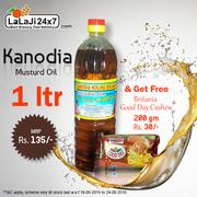 Buy 1 Ltr. Kanodia Mustard Oil & Get Britania Good Day 200gm Free