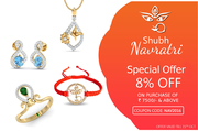 Get 8 percent OFF on any purchase of Rs. 7500 & above - Jewelslane