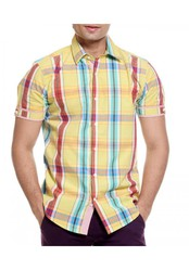 TOG Yellow Half Casuals Mens Check Shirt