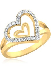 Fashionothon Heart Gold Diamond Ring 22k For Forever Lovers
