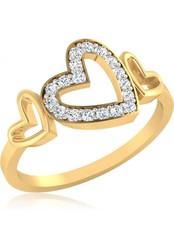 Fashionothon valentine couple Heart Gold Diamond Ring 22k