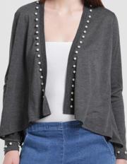 Texco Women Charcoal Grey Open Front Embellished Shrug
