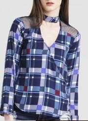 Texco Women Navy & Grey Summer cool V' neck Cuffed sleeve Checks Top