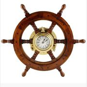 Premium Nautical Decor Ship Wheel | Brass Porthole Clock (18 Inches)