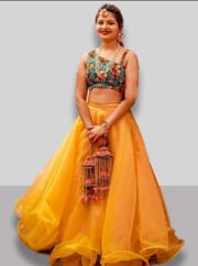 Buy Yellow lehenga for haldi function Online from EthnicPlus for ₹6299