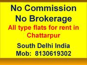 3bhk 2bhk flat in chattarpur by owner for rent