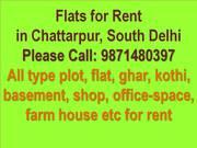 3bhk 2bhk 1bhk flat for rent in chattarpur saket